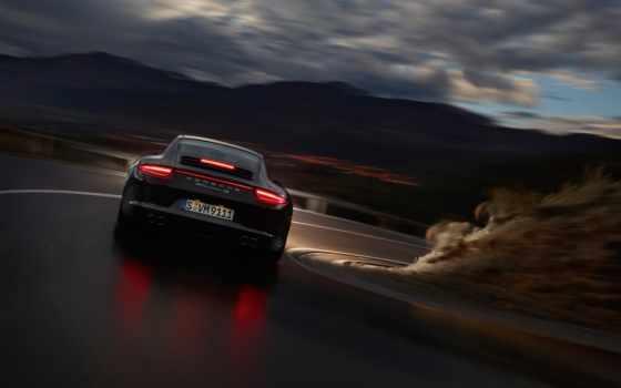 porsche, carrera, фары, скорость, отражение, ночь, автомобили,