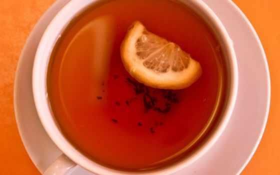 , чай, лимон, чашка, оранжевый