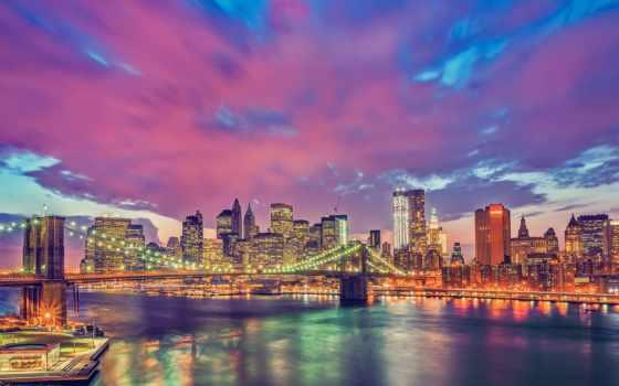 нью, пейзажи -, york, manhattan, бруклин, мост, яndex, коллекциях, card, коллекции,