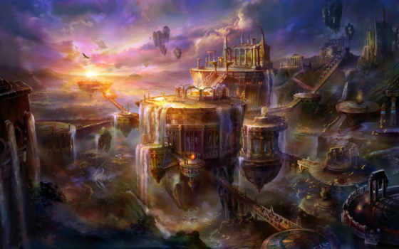 rong, пейзаж, скалы, водопады, fantasy, руины, арки, арт, высота, фэнтези, city,