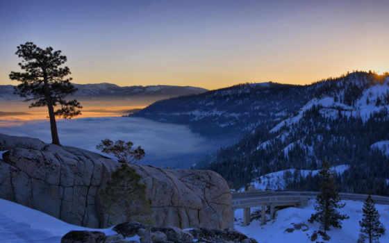 горы, закат, winter