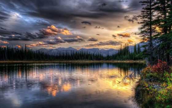 озеро, природа, со, страница, закат, landscape, отражение, фоны, горы, фотообои,