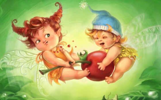 фея, little, эльф, drawing, питомник, красивый, fighting, малыш, cherry, skazka, декупаж