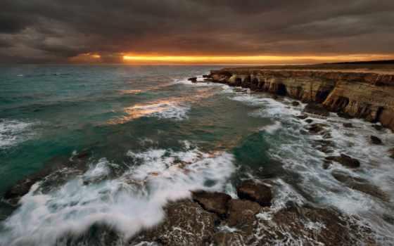 скалы, море, landscape