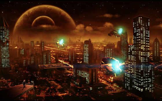 cosmos, город, fantasy