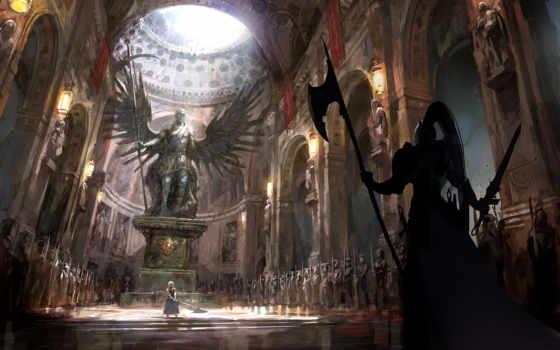 fate, saber, ночь, stay, art, девушка, храм, войны, оружие,