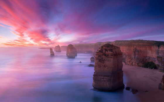 закат, закаты, восходы, солнца, distance, rising, oblaka, море, горы, побережье, небо,