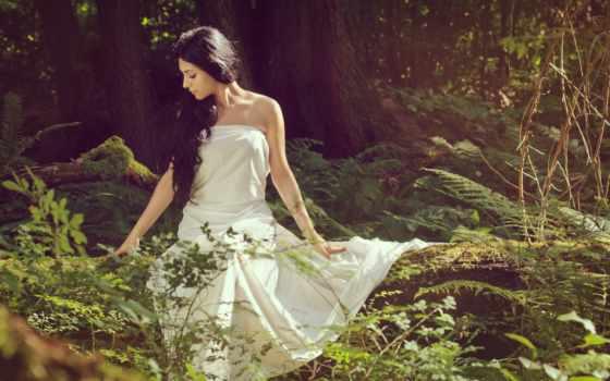 платье, девушка, белом, лесу, лес, разрешениях, разных, brunette,