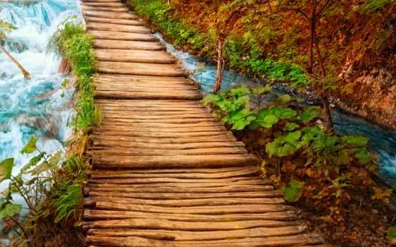 природа, water, река, мост, водопад,