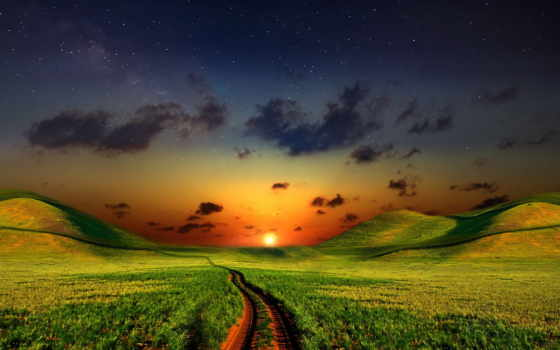 солнца, природа, луг, закат, небо, лугу, fone, дорога, заката, зеленому,