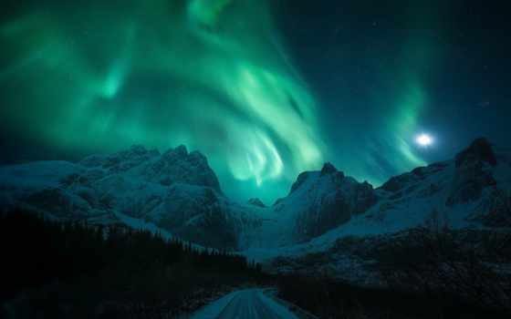 гора, дорога, northern, снег, winter, сияние, ночь, свет, луна
