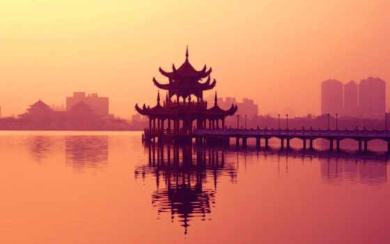 пагода, закат, озеро