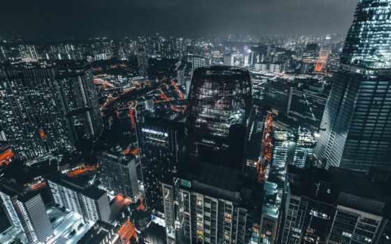 skyscrapers, night, top view, city lights, metropolis