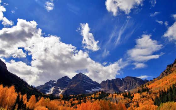 oblaka, осень, горы
