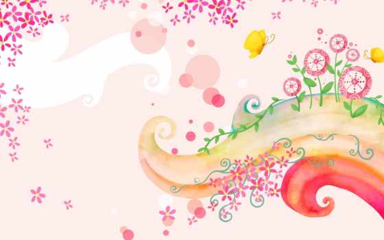 детские, широкоформатные, cvety, бабочка, curl,