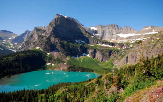water, blue, landscape, mountains, озеро, снег, телефон, climate, mobile,
