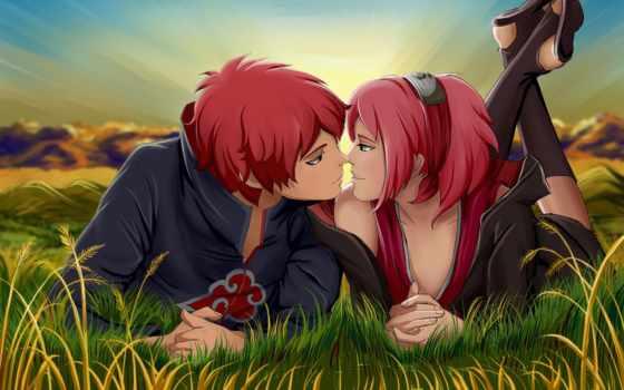 cartoon, пара, anime, love, поцелуй, romantic, kissing,