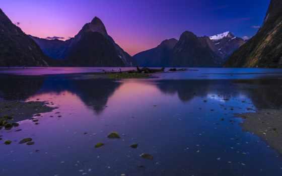 mountains, landscape, озеро, природа, закат, purple, небо, dusk, preview