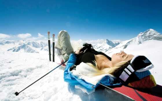 devushka, горах, отдых, лыжи, горы, devushki, найти,