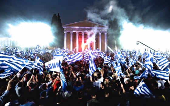 флаги, greece, ночь, греции, много, люди, election, rally,