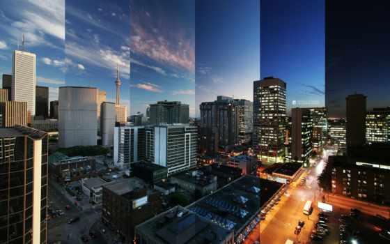 ночь, утро, огни, картинка, ночи, дня, город,