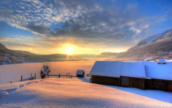 winter, lodge, горы, снег, небо, природа, sun, house, день, горах,