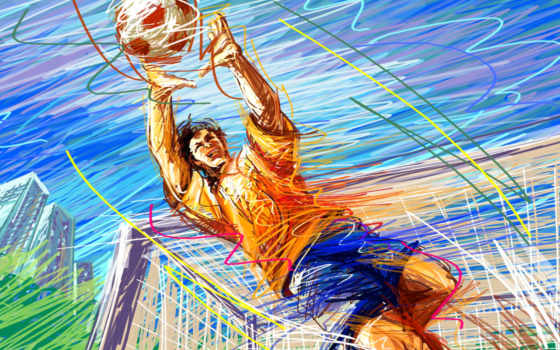 вратарь, футбол, рисунок, мяч, вектор, gate, штрих, картинка, спорт,