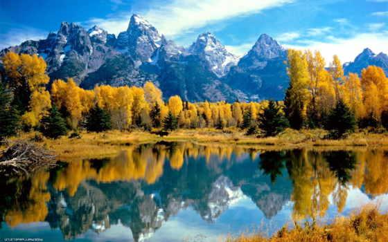 ,park, national, grand, teton,, природа, горы, озеро, осень