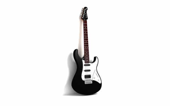 гитара, белом