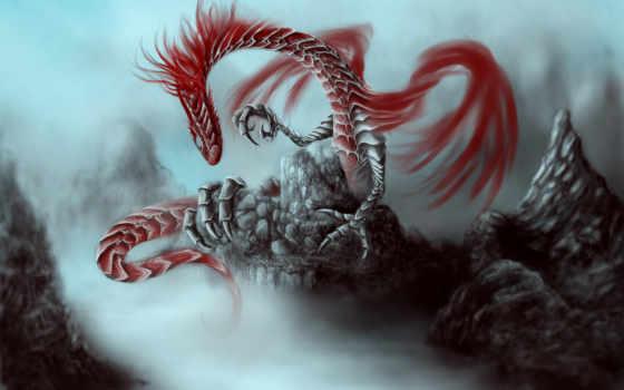 дракон, скалы