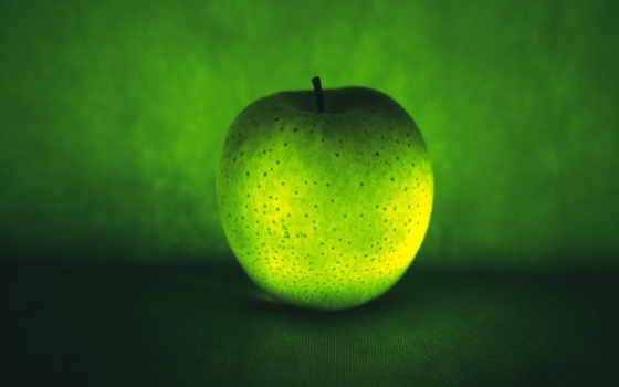 зеленое, apple, логотип