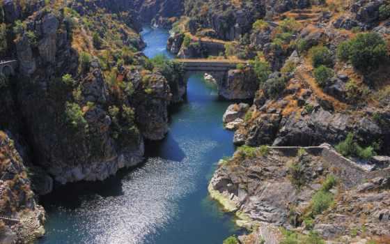 река, мост, изображение, скалы, фото, zobacz, природа, trees, фотографий, мб,