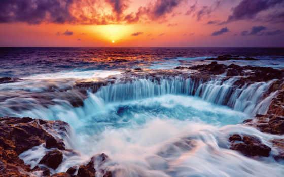 море, закат,