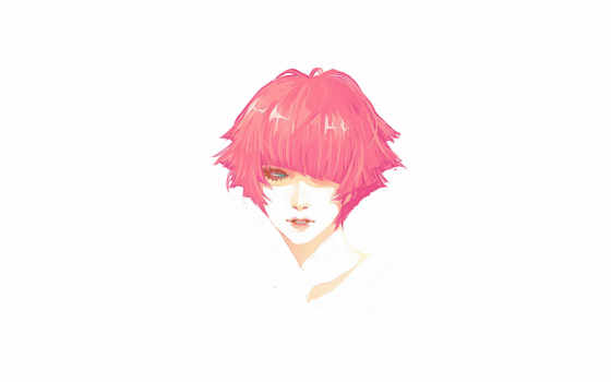рыжая, волосы, девушка, голова, короткие, портрет,