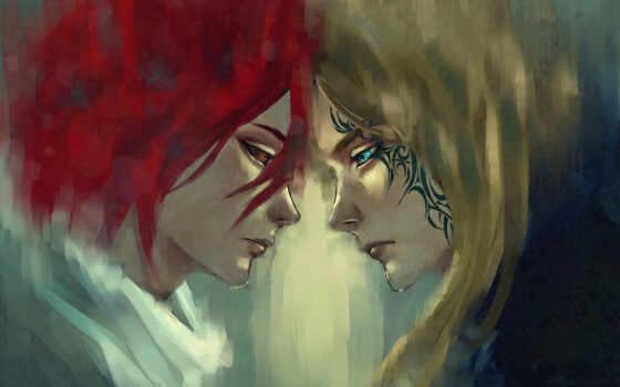 парень, девушка, татуировкой, красными, лице, волосами, парни, art, категории, стоят,