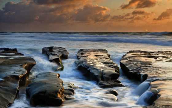 море, waves, камни, горизонт, озеро, oblaka, закат, вечер, мар, взгляд, монитора,