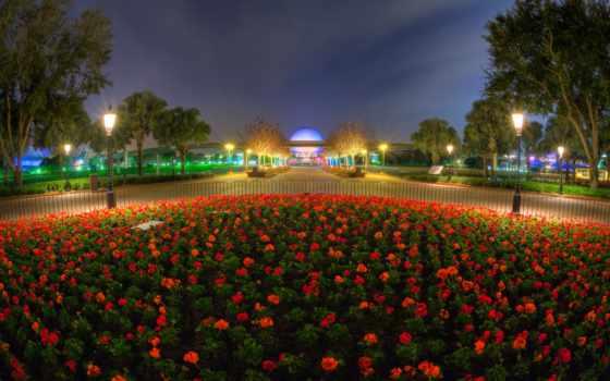 ночь, огни, фонари, клумба, park, небо, oblaka, cvety, уличные, парки, картинка,