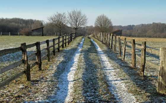 дорога, забор, пейзажи -, поле, макро, landscape, категории, лес, туман, утро,