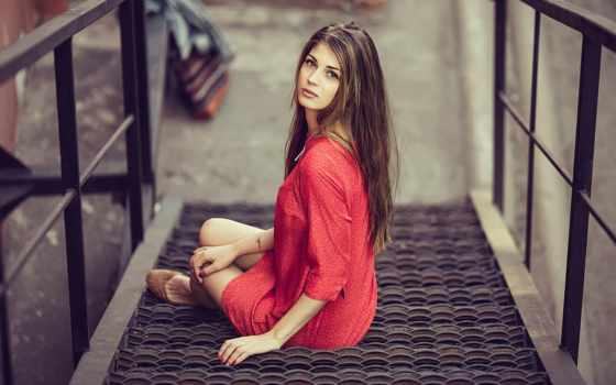 девушка, город, москва, девушек, красном, последний, лестнице,