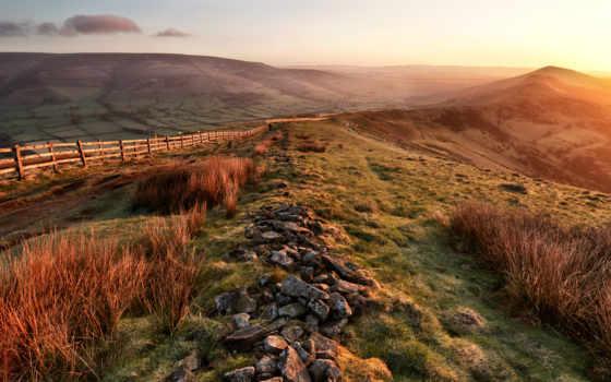 холмы, долина, горы, весна, камни, черви, утро, природа,