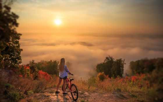 девушка, природа, красивый, bike, landscape, красавица, sun, облако, free, фото, небо