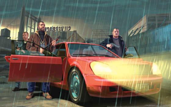 grand, theft, auto, gta, разборка, нико, дождь, машины, белик, hintergrundbilder,