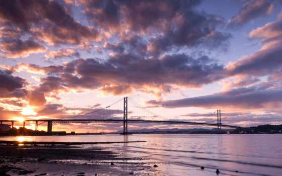 мост, закат