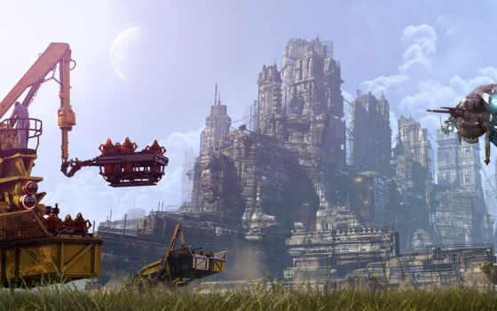 будущее, город, небо
