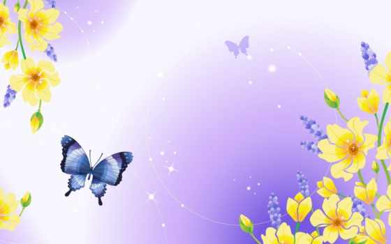 mariposas, flores, pantalla