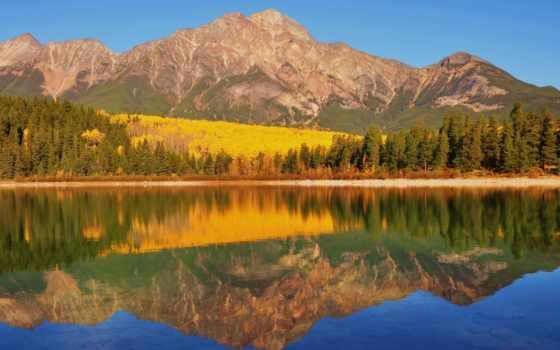 kanada, berge, landschaft, reflexion, farben, jasper, park, канада, hintergrundbild, nemzeti, sonnenklar,