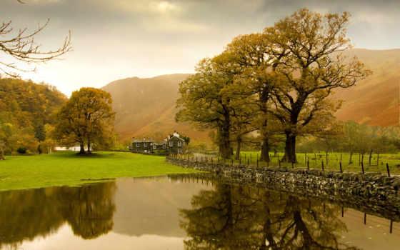 природа, пейзажи -, широкоформатные, записи, меткой, озеро, осень, под, великобритания,