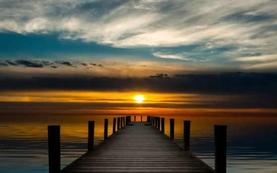 , пирс, закат, море, мост, небо,