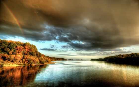 небо, англия, радуга, clouds, природа, река, rivers, beneath, густой,