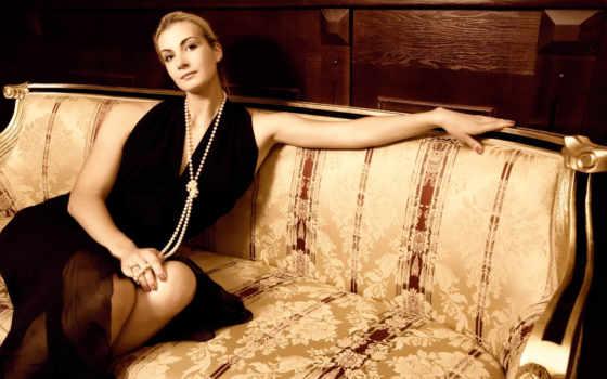 девушка, красивая, pearl, стиль, мебель, диван, стоковые, стоковое, диване, роскошная, фотографий,